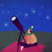 Animaatiokuva: hahmo katsoo taivaalle kaukoputkella.