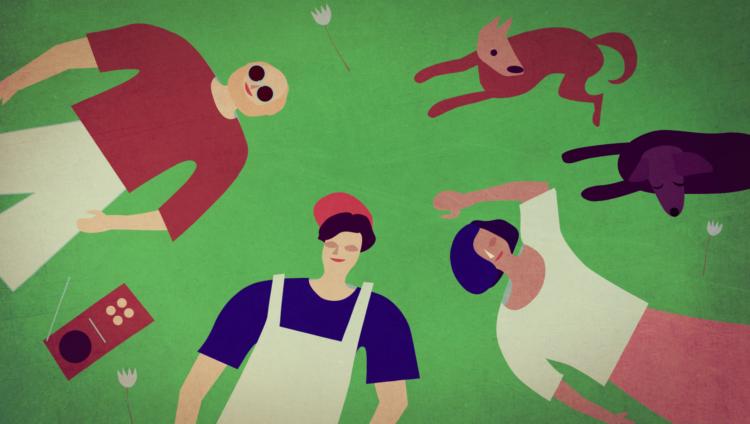 Animaatiokuva: ihmisiä ja eläimiä makoilee nurmella.