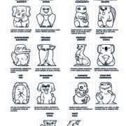 Temperamenttitoteemissa on seitsemän eläinparia, jotka kuvaavat temperamenttipiirteiden korkeaa ja matalaa ilmenemismuotoa.