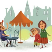 Piirros miehestä kahvilapöydän ääressä joka iloisesti tervehtii kaksi iäkkämpää naista
