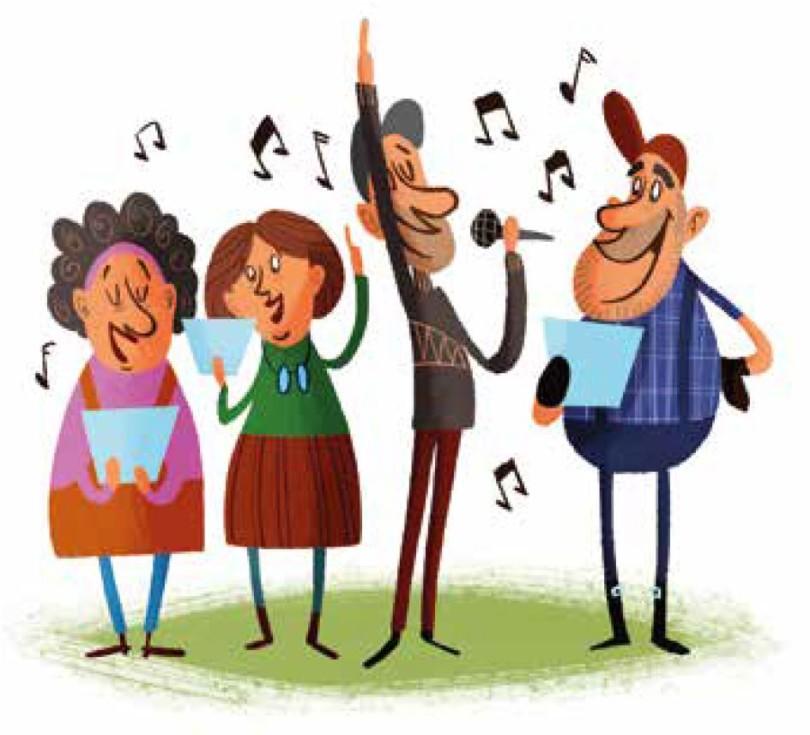Piirros iloiikä-ihmisistä laulamassa pienessä kuorossasista