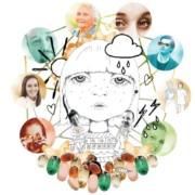 Piirros, jossa nuoren ihmisen kasvot keskellä