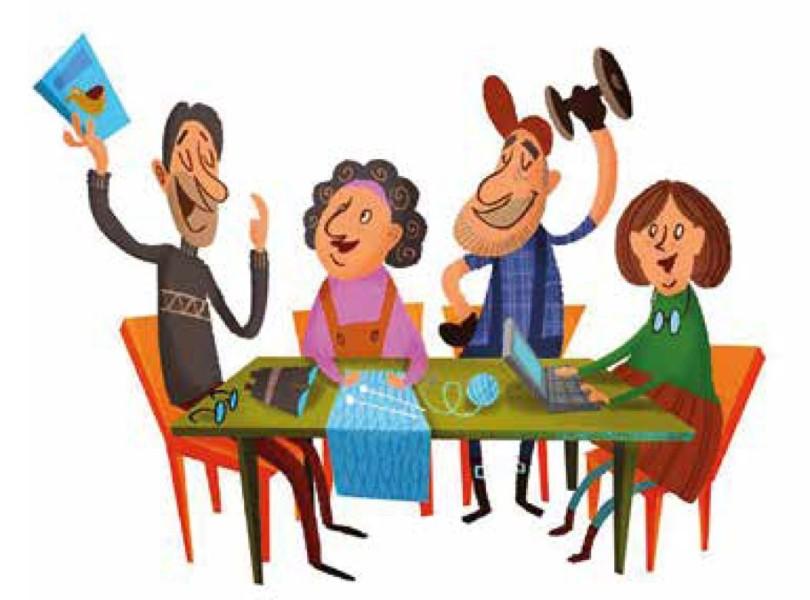 Piirros iloisista aikuisista pöydän ympärillä