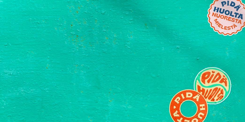 Turkoosi kuva jossa koristetarroja