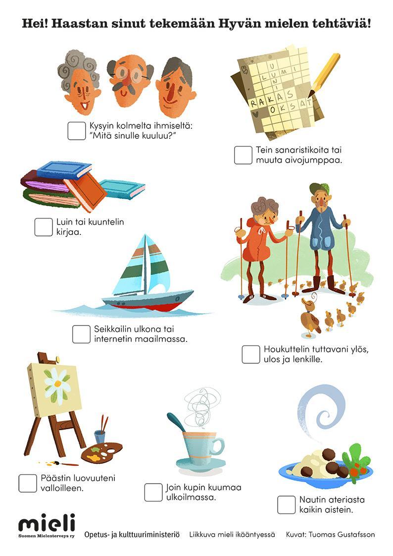 Tehtäväkortti, josta voi ruksia tehdyksi erilaisia liikunnallisia tehtäviä.