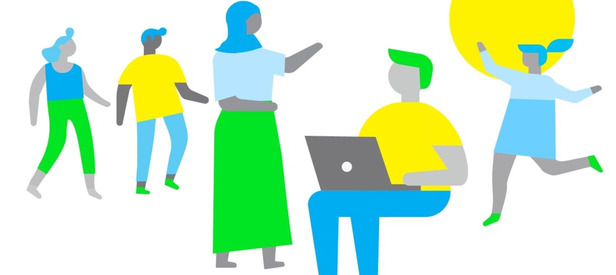 färgglad illustration av olika unga människor